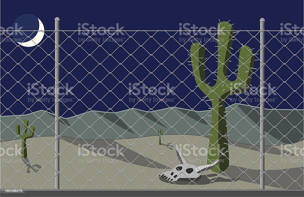 Desert night at the border. royalty-free stock vector art