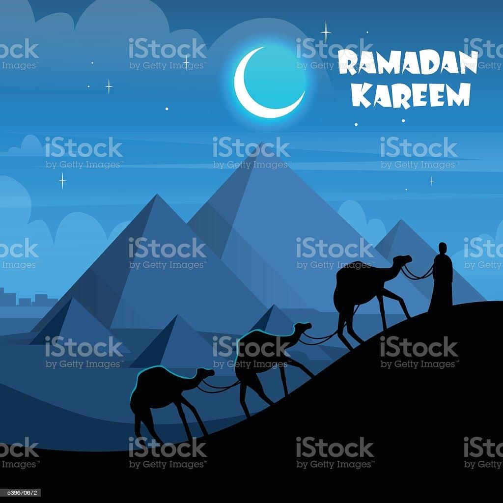 Desert Night Egypt Pyramids Camel Caravan vector art illustration