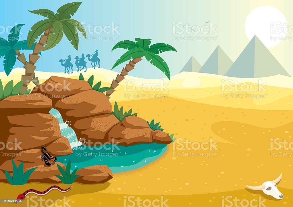 Desert Oasis vector art illustration