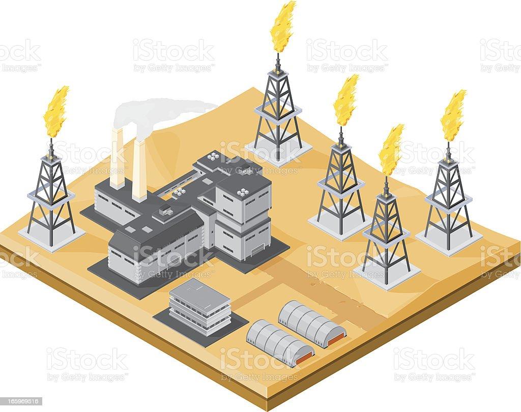 Desert Oil Field vector art illustration