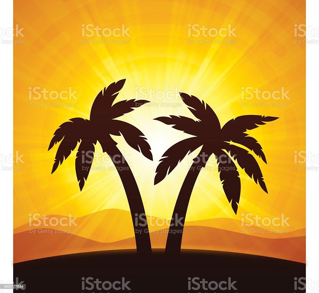 Desert Palm Trees vector art illustration