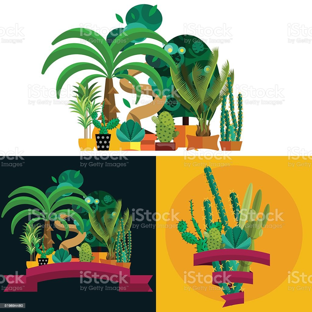 Desert plant. Illustration of palm trees on white background vector art illustration