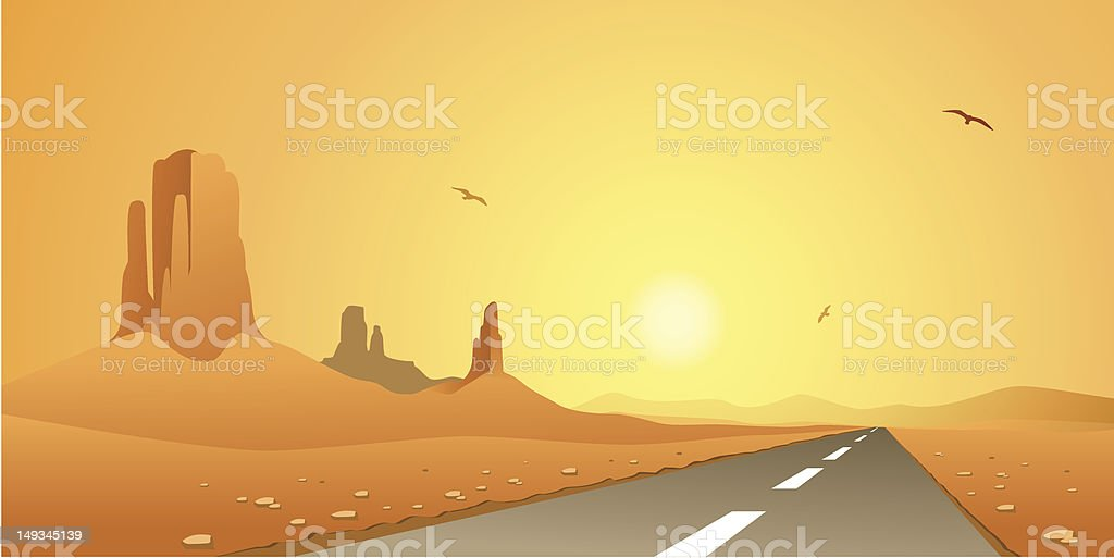 Desert Road royalty-free stock vector art