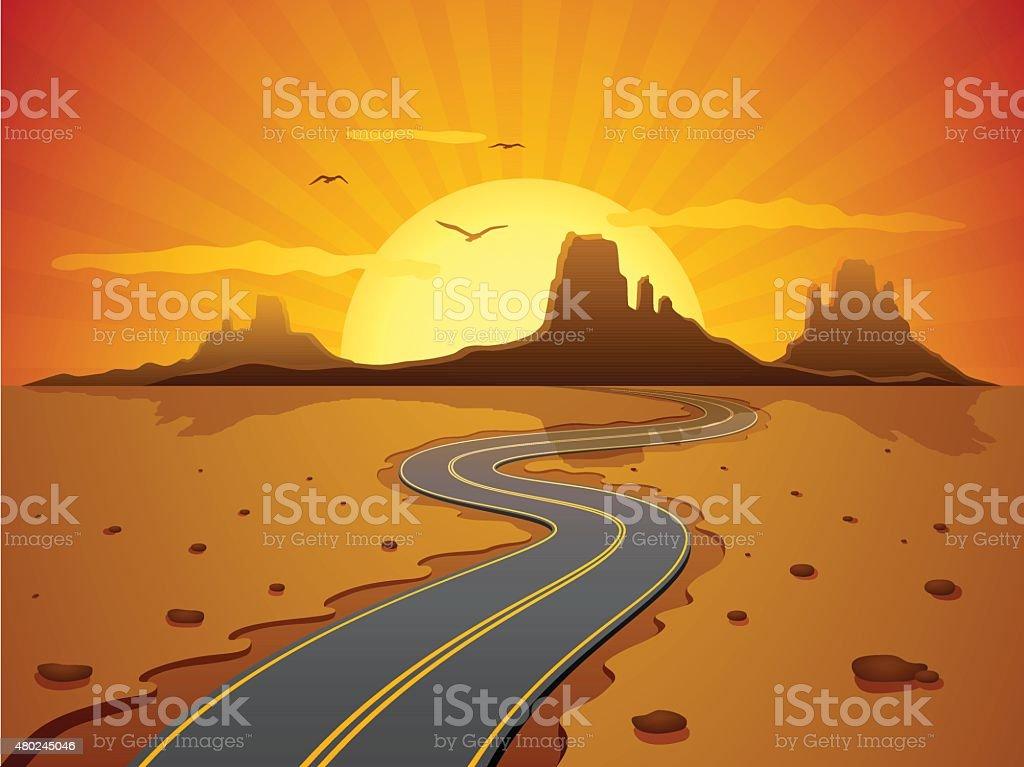 Desert Road vector art illustration