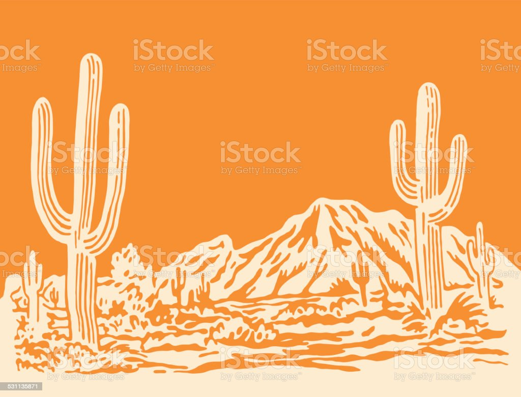 Desert Scene vector art illustration