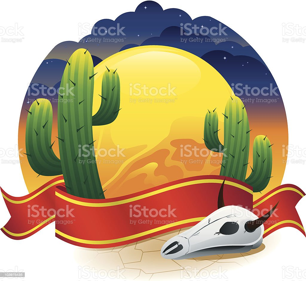 Desert Scene with Banner royalty-free stock vector art