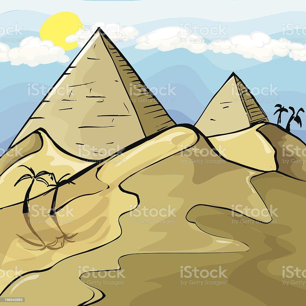 Desert scene with pyramids vector art illustration