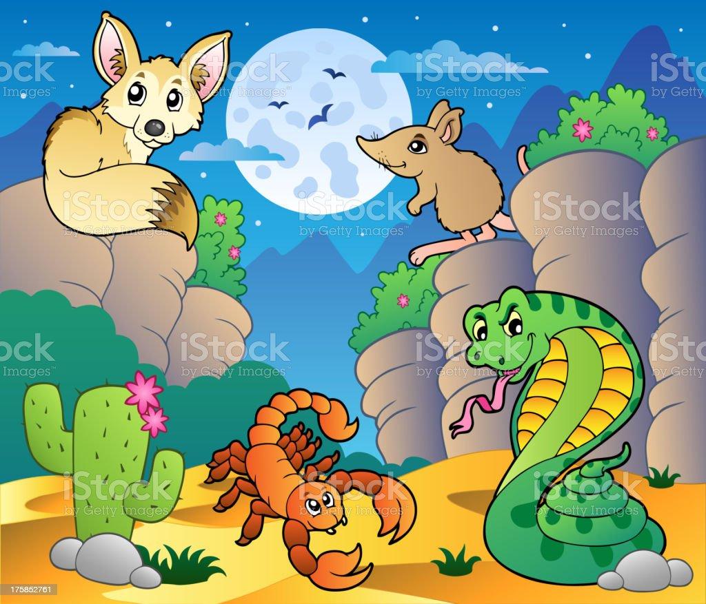 Desert scene with various animals 5 royalty-free stock vector art