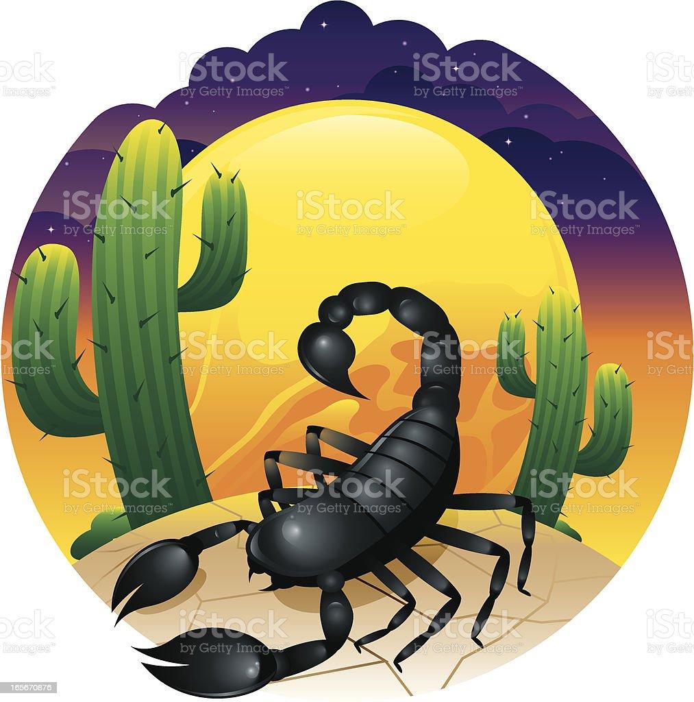 Desert Scorpion Scene vector art illustration
