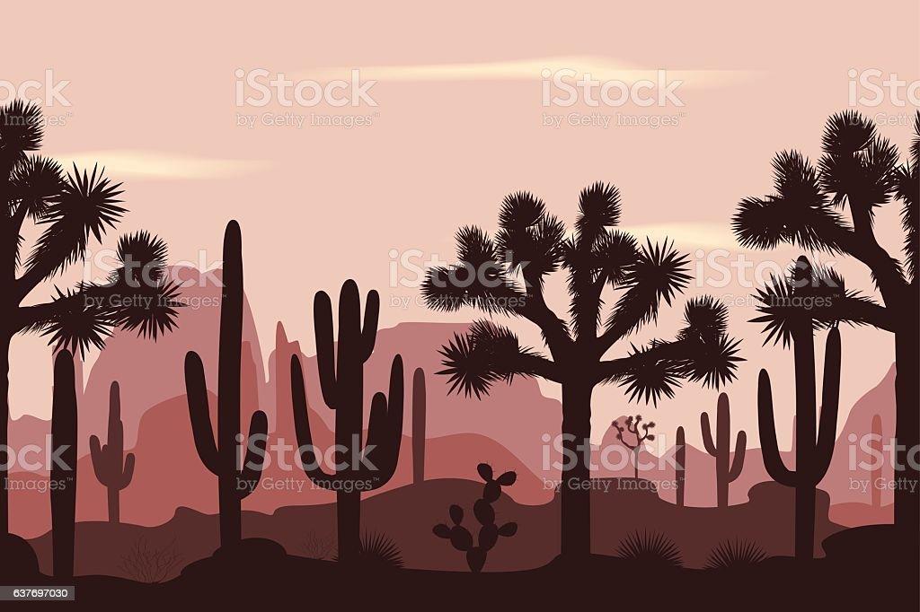 Desert seamless pattern with joshua trees and saguaro cacti. vector art illustration