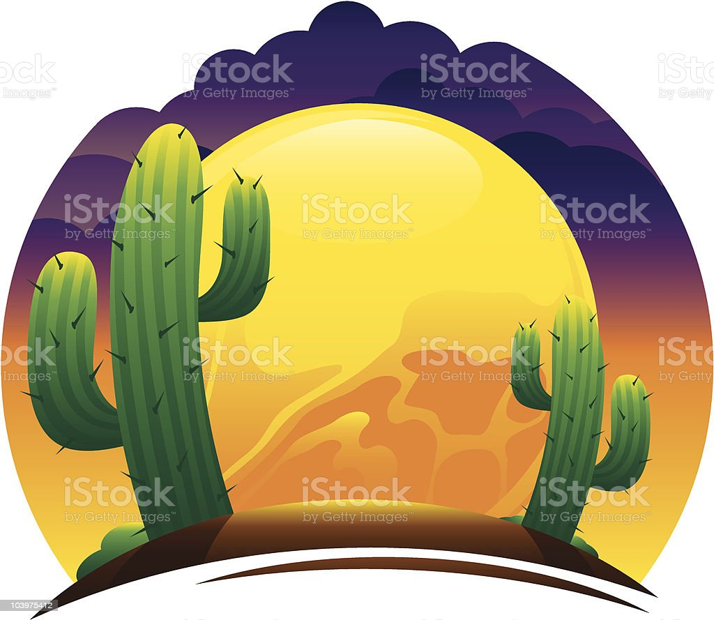 Desert Sunset royalty-free stock vector art