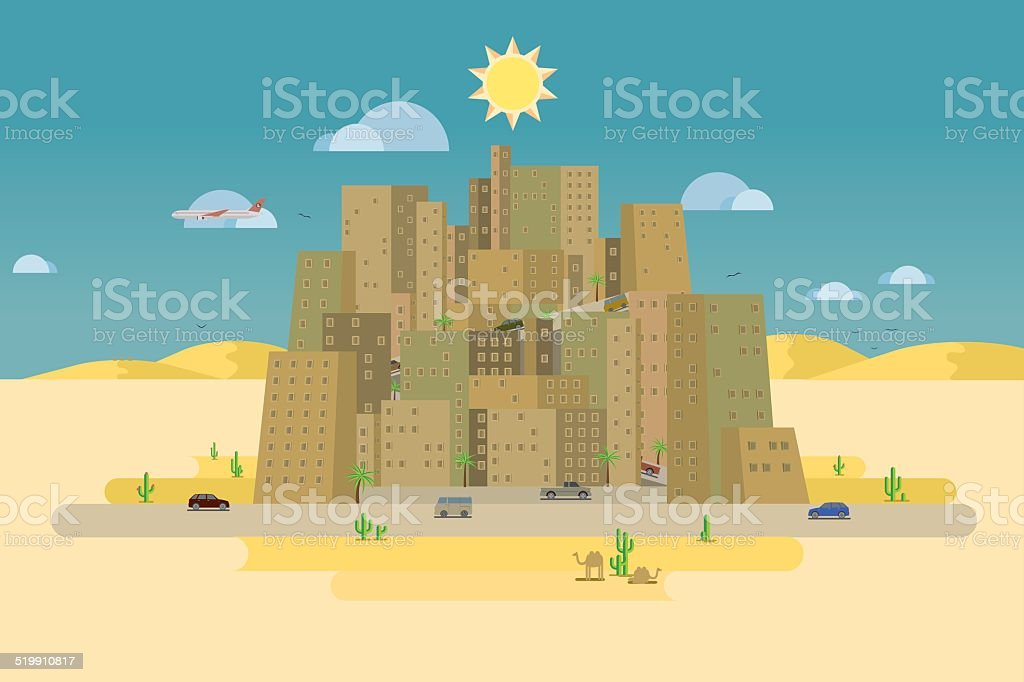 desert town vector art illustration