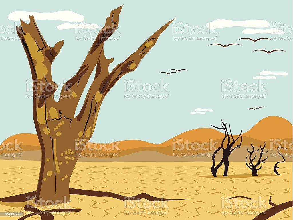 desert tree landscape vector art illustration