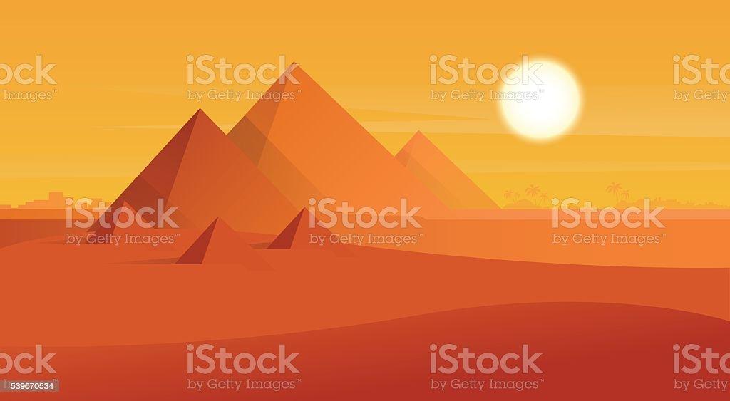 Desert View Egypt Pyramids Sunset vector art illustration
