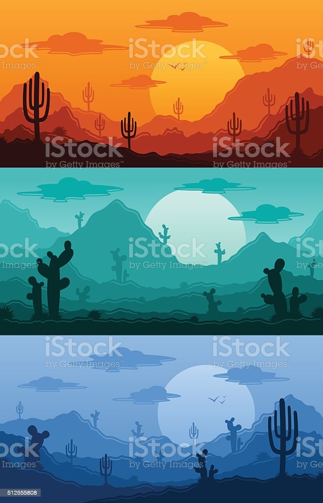 Desert wild nature landscapes vector illustration vector art illustration