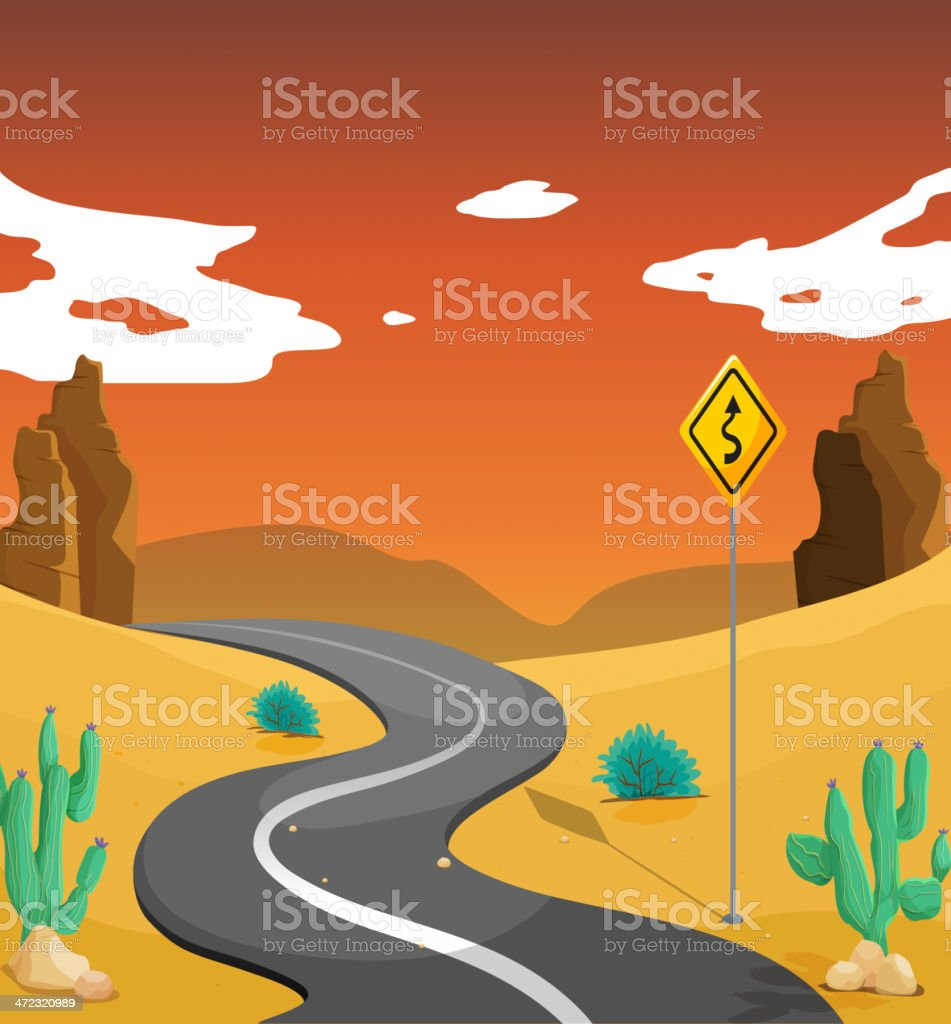 desert with a curve road royalty-free stock vector art