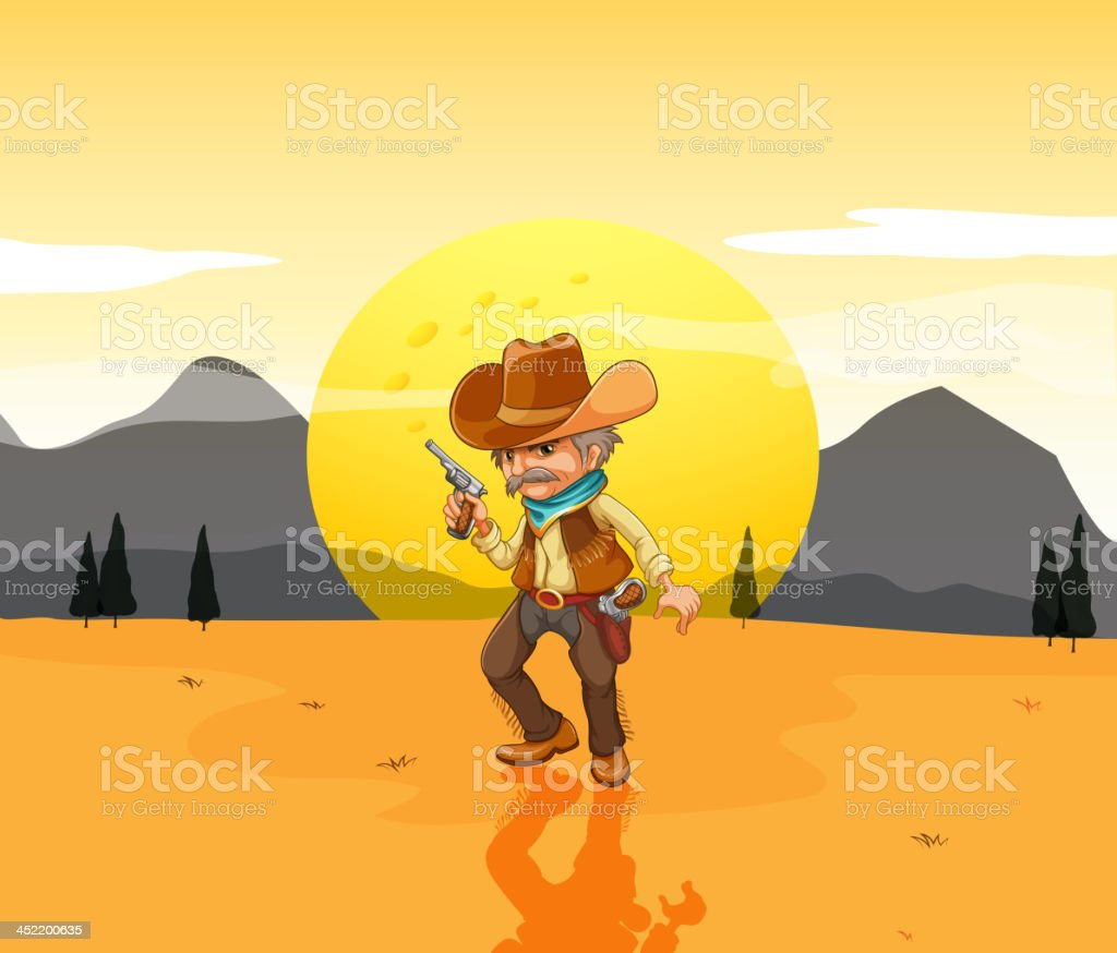 Desert with an armed cowboy royalty-free stock vector art