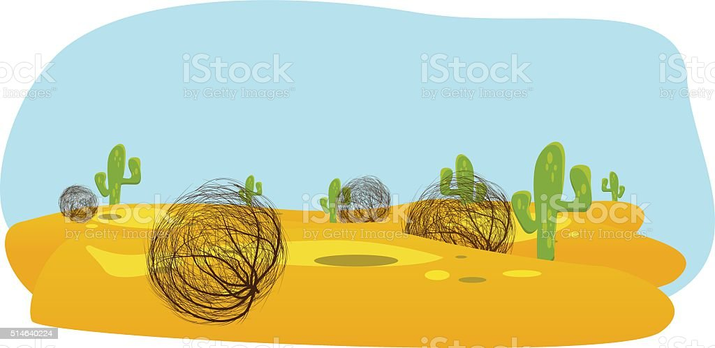 desert with cactus and tumbleweed vector art illustration