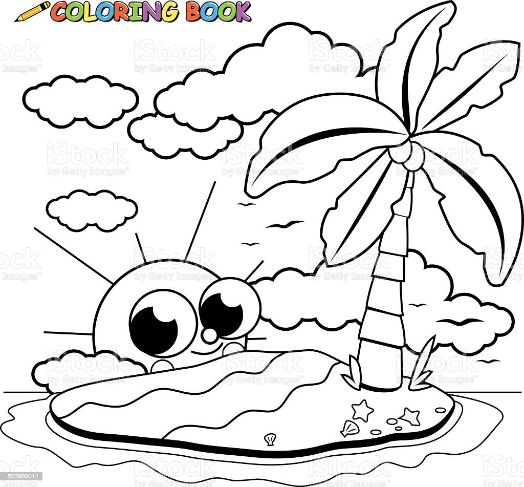 deserted island and cute cartoon sun coloring book page stock