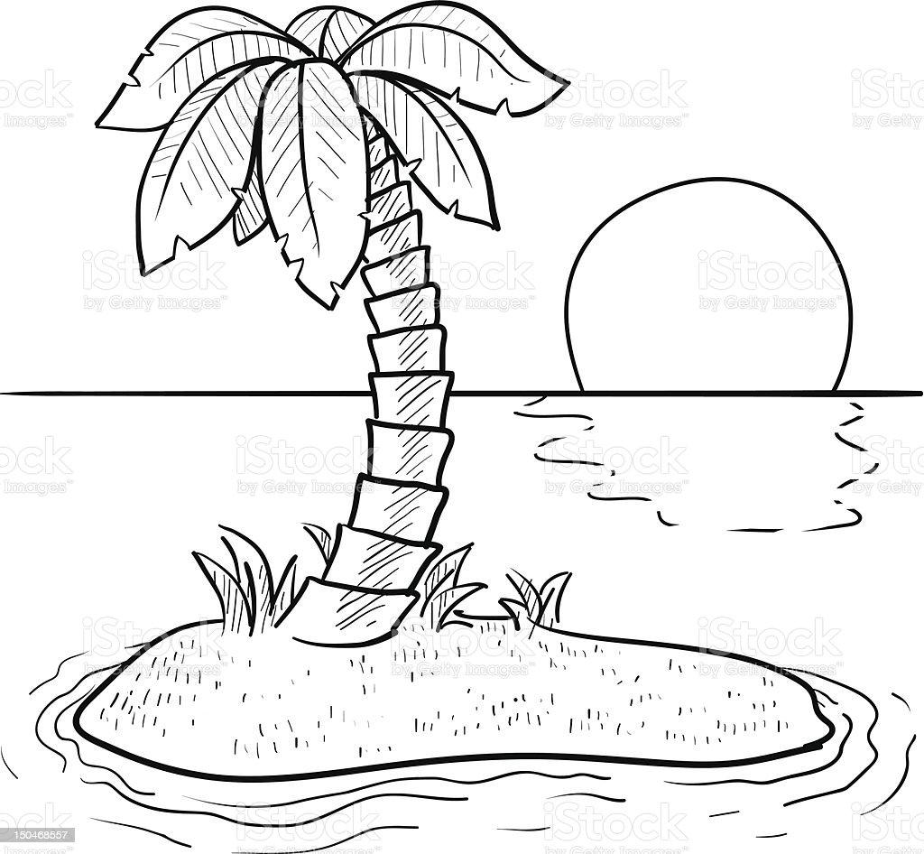 Deserted tropical island sketch vector art illustration