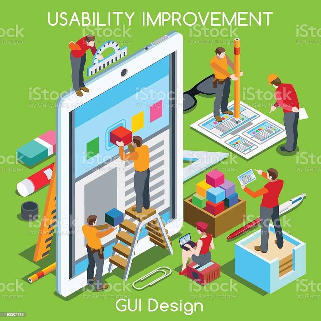 GUI design 03 People Isometric vector art illustration