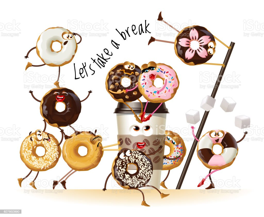 Design a poster with cartoon characters donuts vector art illustration