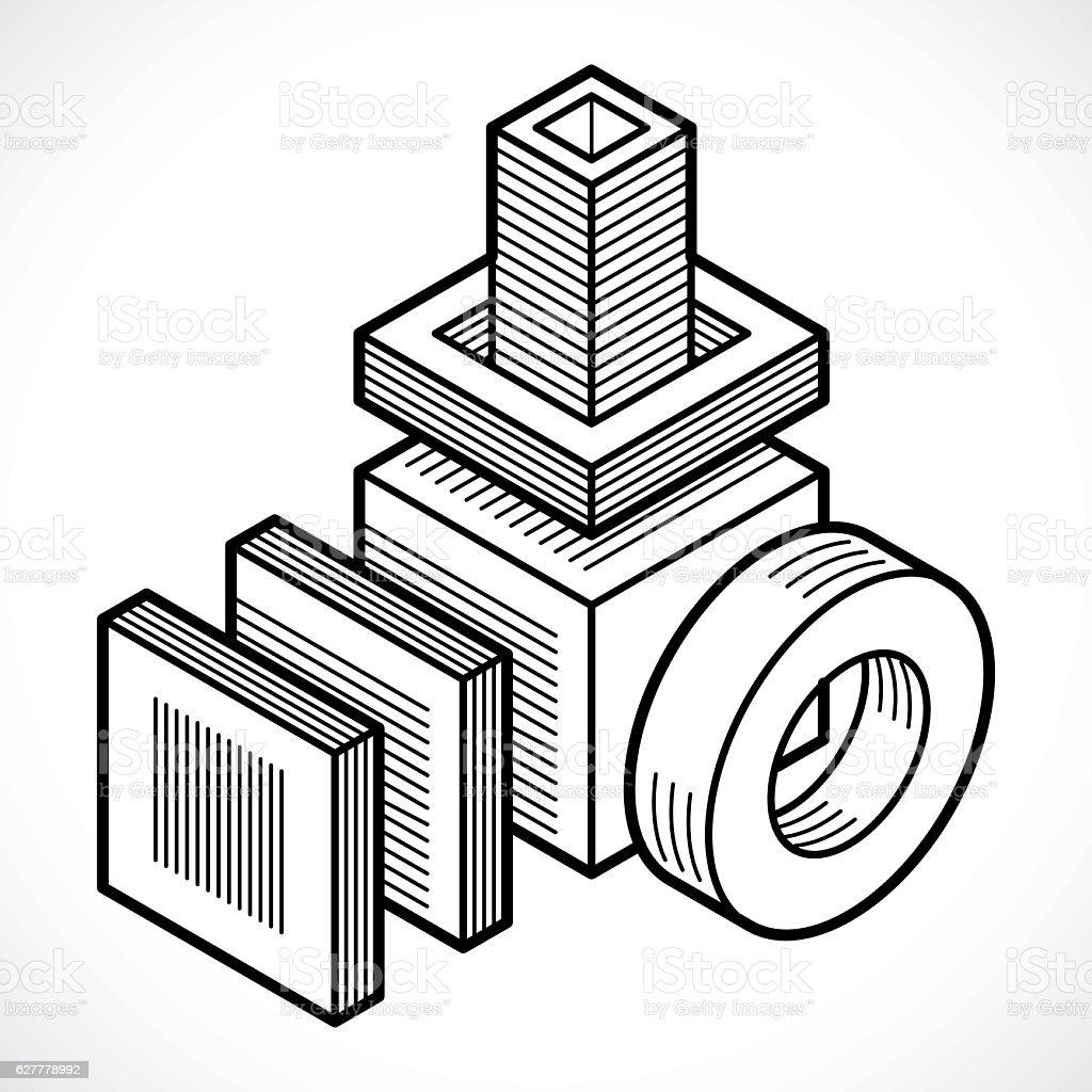 3D design, abstract vector cube shape. vector art illustration