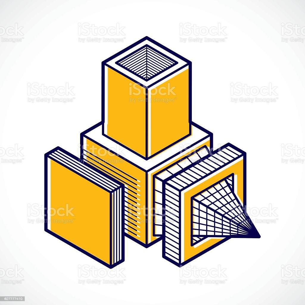 3D design, abstract vector dimensional cube shape. vector art illustration