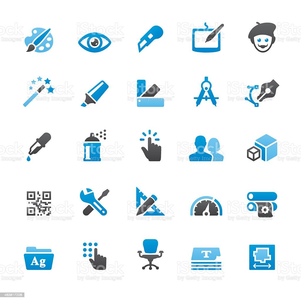 Design and Art related vector icons vector art illustration