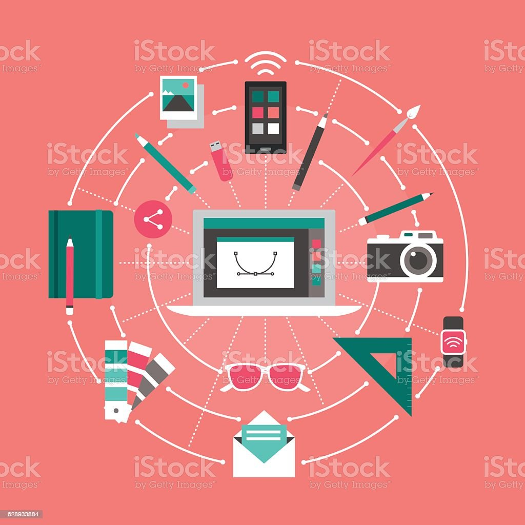Design and technology vector art illustration