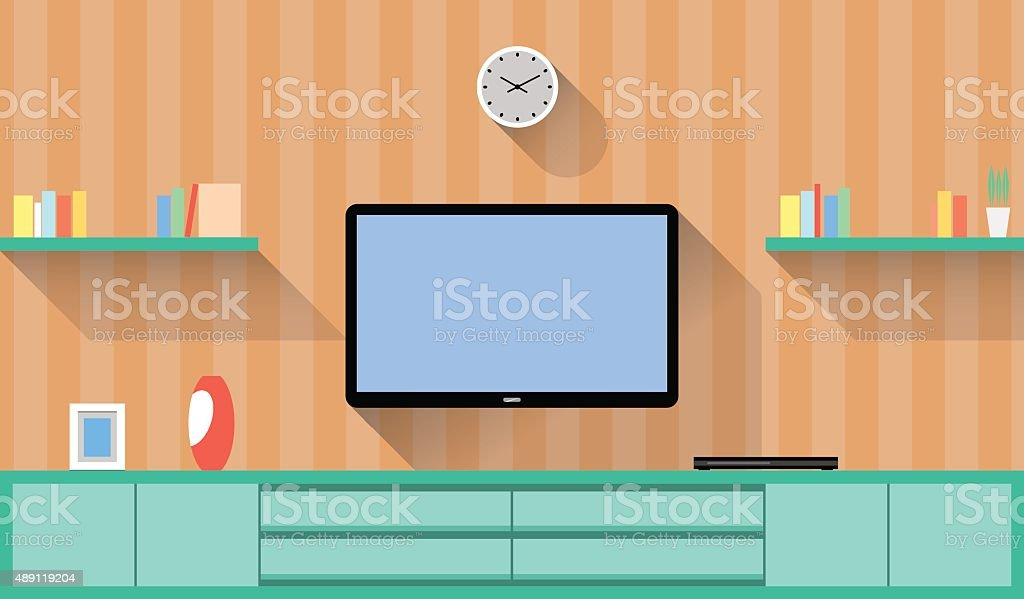 Design around the Television in a Living room vector art illustration