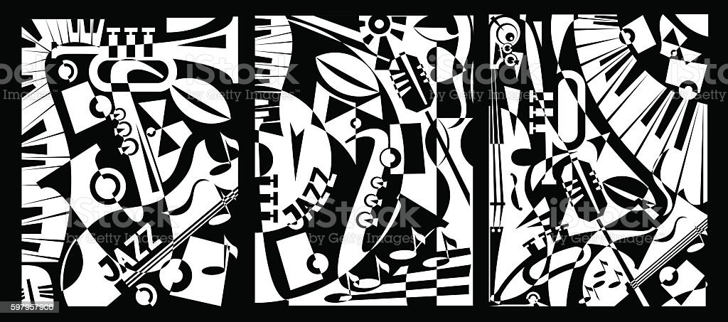 Design banner jazz music in retro geometric abstraction style. Triptych vector art illustration