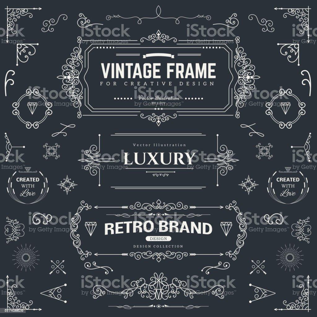 Design collection of vintage patterns vector art illustration