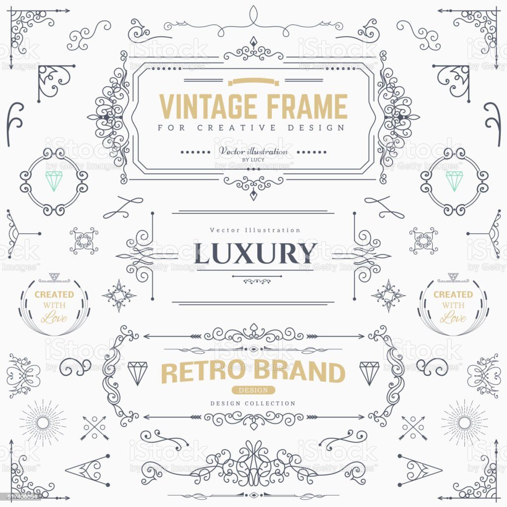 Design collection of vintage patterns vector art illustration