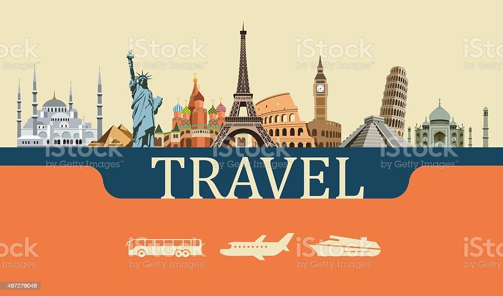 Design Concept of Travel World Landmarks vector art illustration