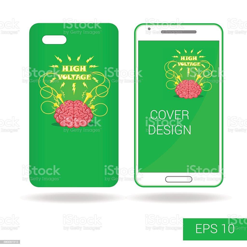 Design cover mobile smartphone: funny human brain in cartoon style vector art illustration