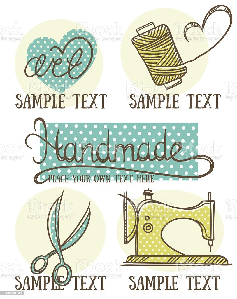 design, craft and handmade logo, symbol and emblems in doodle style vector art illustration