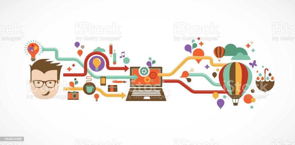 Design, creative, idea and innovation infographic vector art illustration