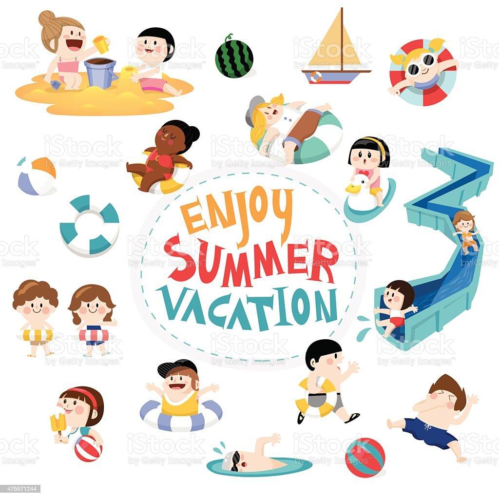Design element and children for summer season vector art illustration
