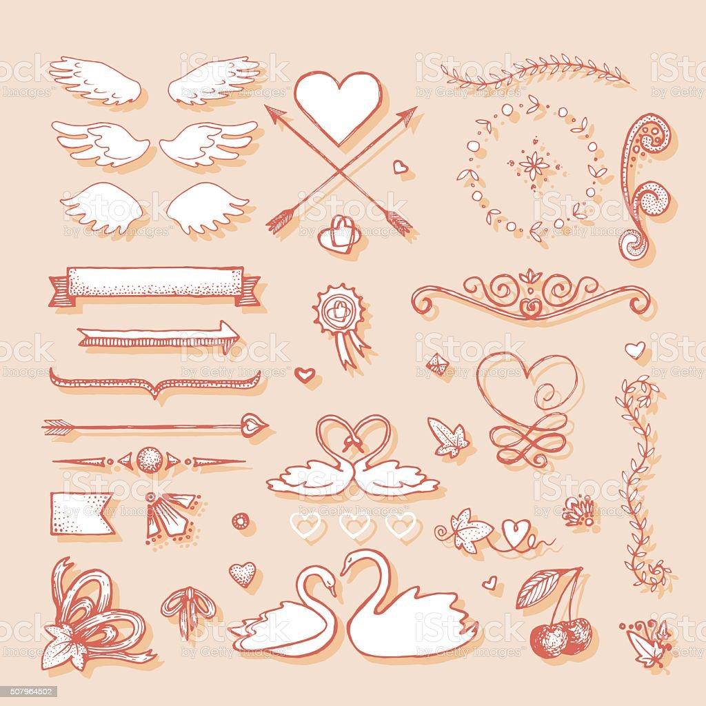Design element for wedding greeting card vector art illustration