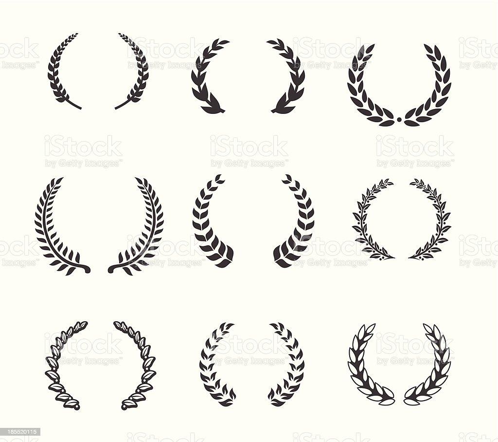 Design element - Laurels and Wreaths vector art illustration