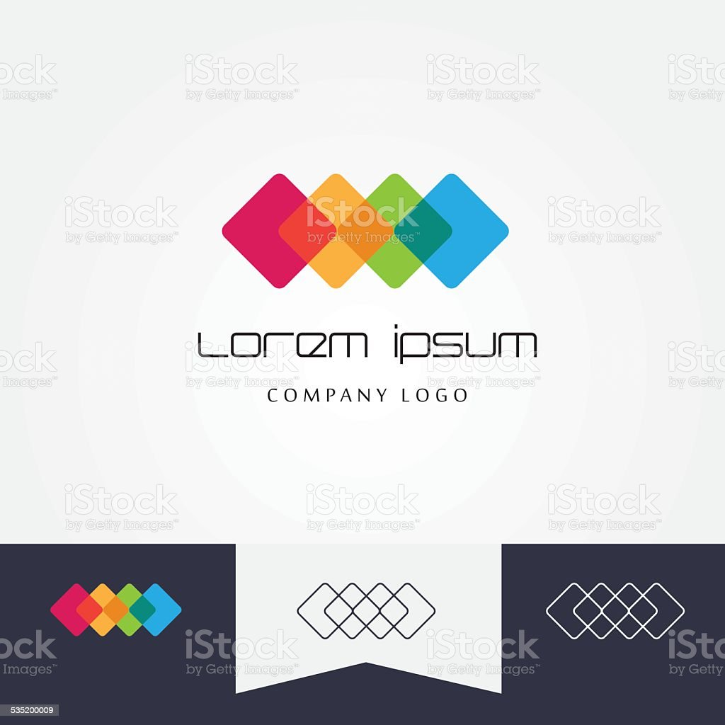 design element made of four transparent cubes mutually connected vector art illustration