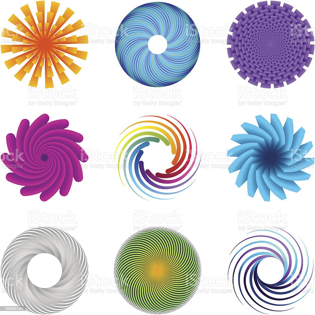 Design element of 9 Various Circle formations vector art illustration
