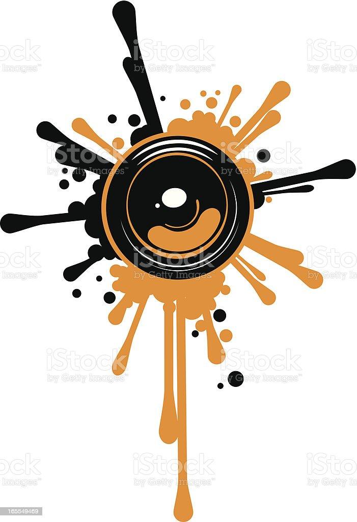 Design element of a speaker blasting paint splatters vector art illustration
