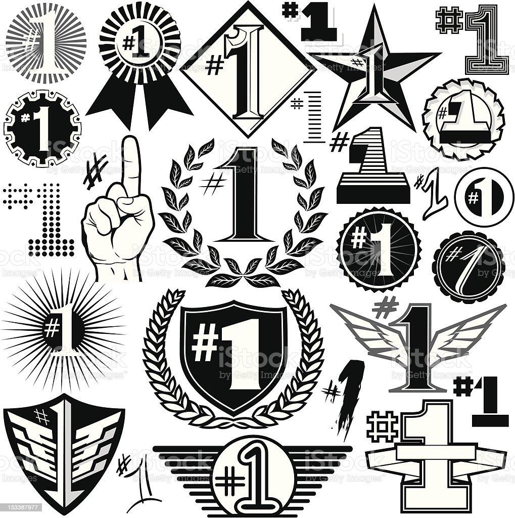 Design Elements - #1s royalty-free stock vector art
