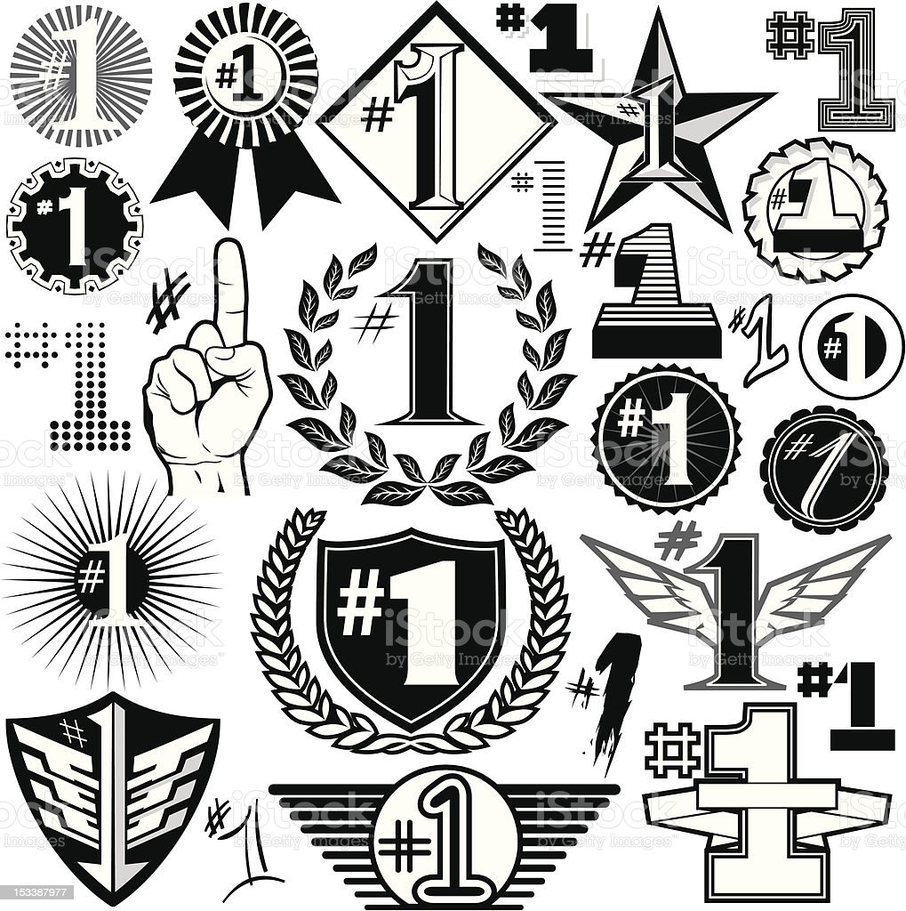 Design Elements - #1s vector art illustration