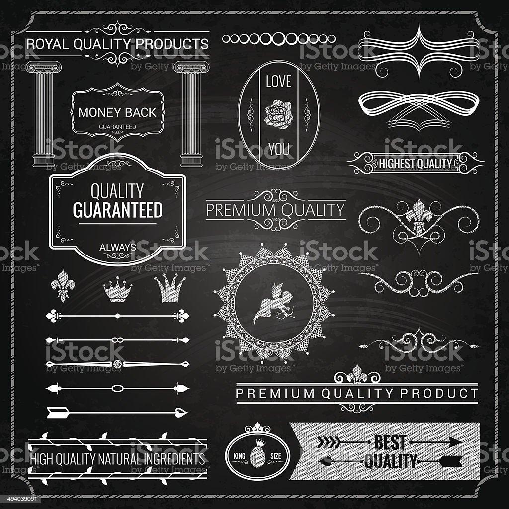 design elements chalk texture vector art illustration