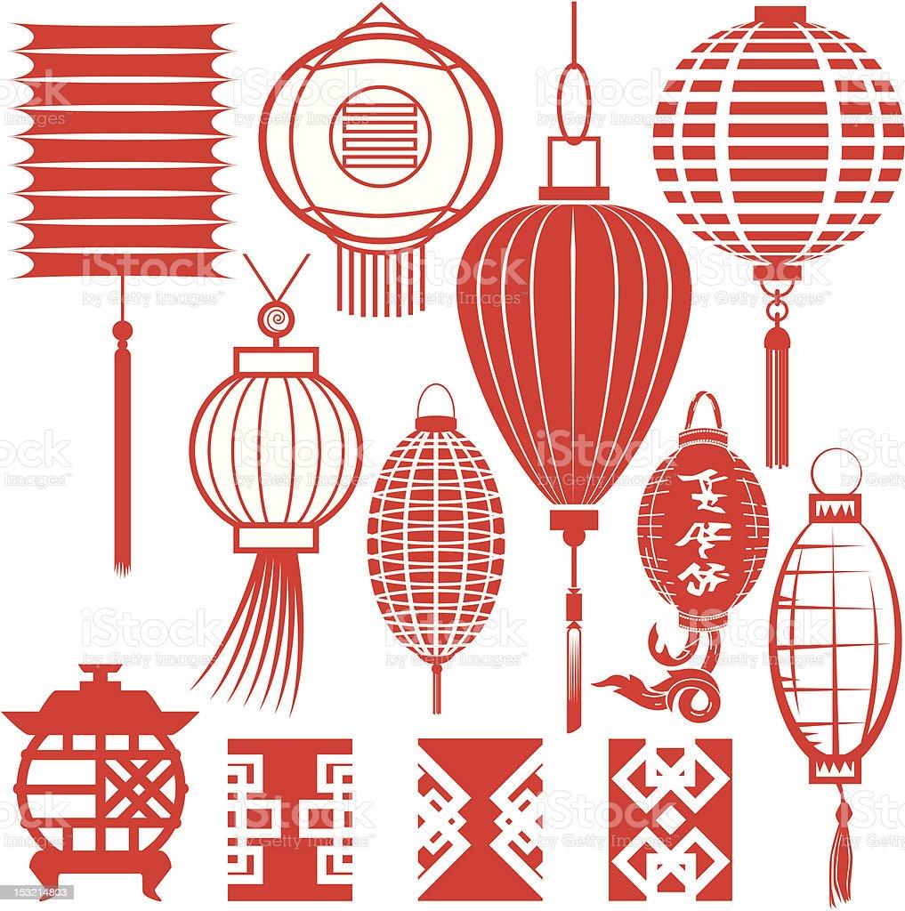 Design Elements - Chinese Lanterns vector art illustration