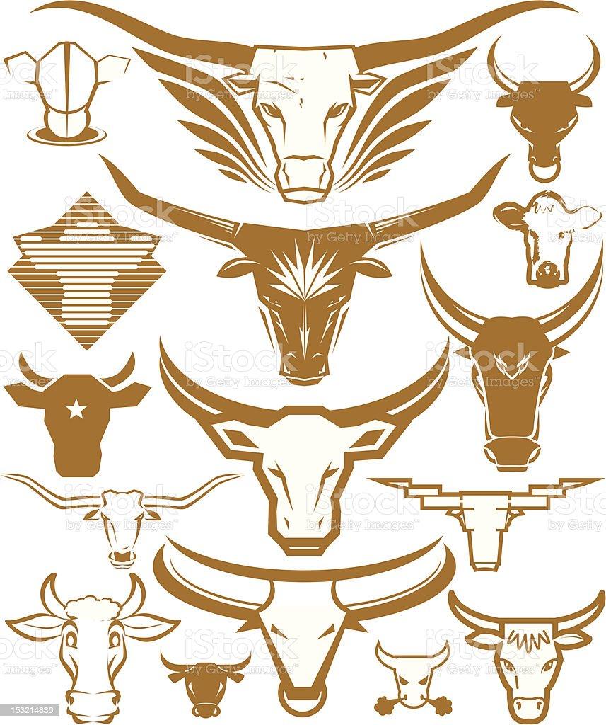 Design Elements - Cow Heads vector art illustration