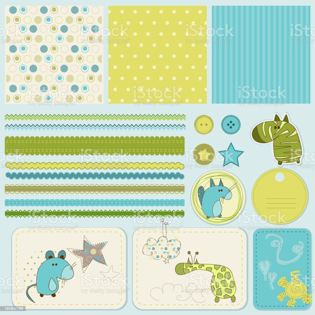 Design elements for baby scrapbook royalty-free stock vector art